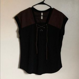 Black and brown blouse